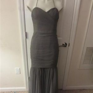 AMSALE GRAY HALTER GOWN W/ BACK ZIPPER - SIZE 10*